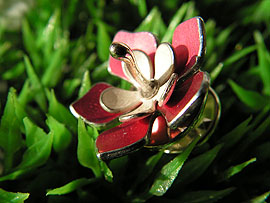 Star Flower Brooch - Anodised  Aluminium & Silver