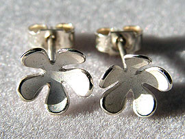 Small Flower Studs - Silver Finish