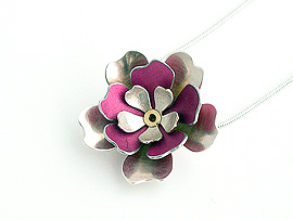 3 Layer Large Flower Anodised Aluminium Pendant