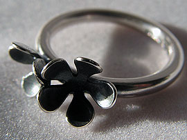 Two Flower Ring - Oxidised