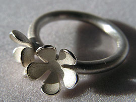 Two Flower Ring - Silver