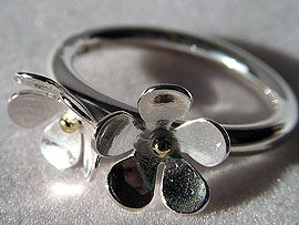 Two Flower Ring - With Gold Detail