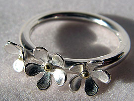 Three Flower Ring - With Gold Detail
