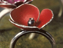 Poppy Ring  Anodised Aluminium with silver